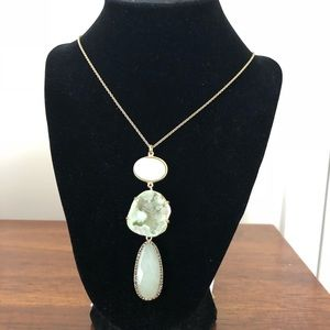 New Loft mint green and gold tone long necklace